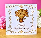 Handmade Happy Mother's Day Card - Rustic 3D Hand Made Wooden Bouquet of Flowers for Mum
