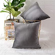 In House Grey Velvet Decorative Solid Filled Cushion Set Of 6 Pieces, 45 * 45 centimeter
