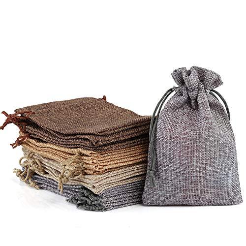 Naler 20 x Jutesäckchen in 4 Farben Jute Beutel für Adventskalender Stoffbeutel Natur Säckchen Geschenksäckchen - 10 x 14 cm