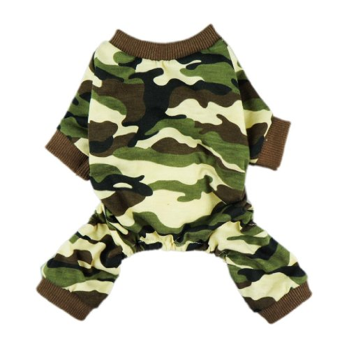 Fitwarm Stylish Army Green Camouflage Dog Shirts Jumpsuit for Pet Cat Camo Clothes Apparel, X-Small