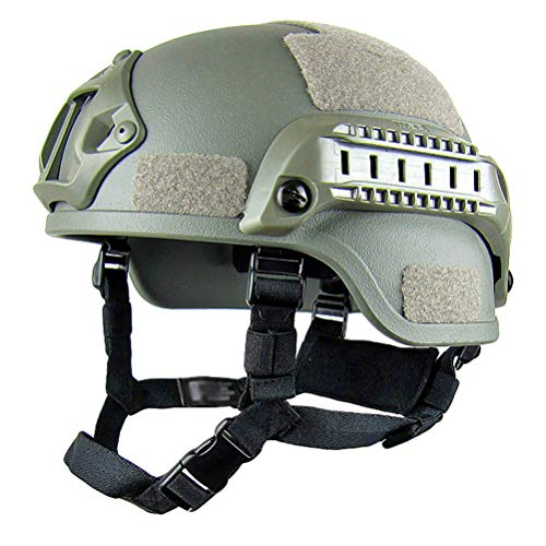 Jitong Taktischer Helm Militär-Stil Schutzhelm für Airsoft Paintball Outdoor-Sportarten Mountainbike Radfahren CQB Shooting - Armeegrün