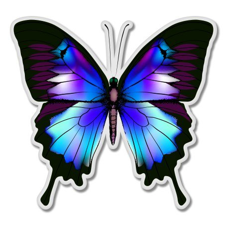 AK Wall Art Blue Morpho Butterfly Vinyl Sticker - Car Phone Helmet - Select Size