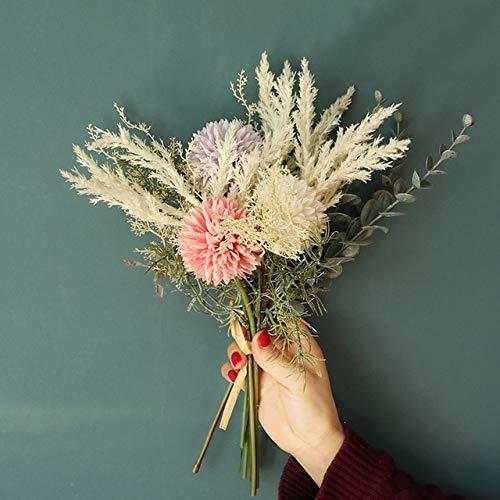 ZCLS White Artificial Flowers Silk Dandelion Plastic Eucalyptus Hybrid Bouquet Wedding Home Decoration