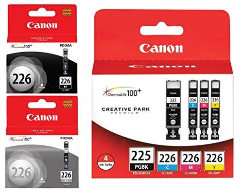 Price comparison product image Genuine Canon PGI-225 / CLI-226 Ink Tank Combo Pack (4530B008) + Canon CLI-226 Black Ink Tank (4546B001) + Canon CLI-226 Gray Ink Tank (4550B001)