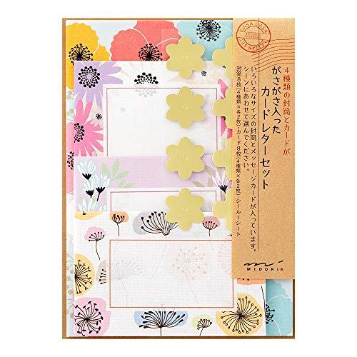 デザインフィル ミドリ レターセット ガサガサ カードタイプ 花柄 86485006