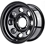 "JEGS Baja-8 Steel Wheel 16"" x 8""   5 x 5.5"" Wheel Bolt Pattern Spacing   -12 mm Offset   4"" Backspacing   Black Powder Coat   Optional Center Cap Available Separately"