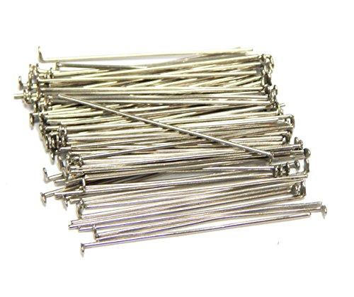 250 Kettelstifte Nietstifte 50mm x 0,5mm Versilbert Kopfstifte Perlenstifte Silber Prismenstifte M316