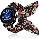Compatible with Michael Kors MKGO Band, YOUkei Elastic Scrunchies with Butterfly Fabric Replacement Straps Women Compatible with MK Gen 5 Lexington/MK Gen 4 MKGO/MK MKGO Gen 5E 43mm (Black Flower)