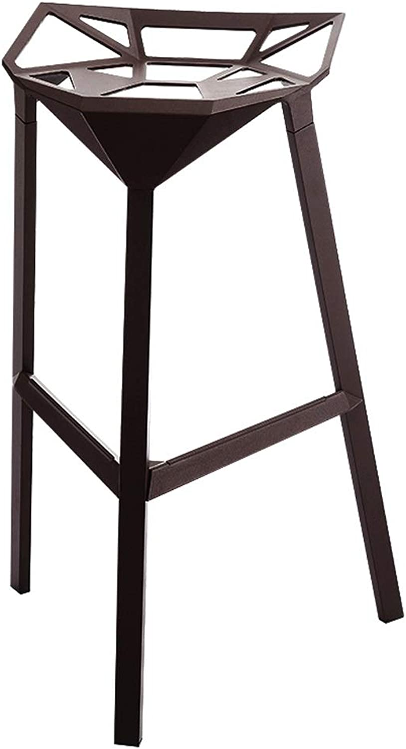 Geometric Industrial Wind Stool Aluminum Alloy High Stool Home Front Bar Chair Folding Chair (color   Black)