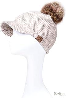 ScarvesMe Women's Exclusive Knitted Brim Visor Beanie with Fur Pom Pom