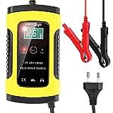 Cargador de Batería Coche Moto, Mantenimiento de batería con Múltiples Protecciones para Automóviles, Motocicletas, ATVs, RVs, Barco,6A/12V Full Automático Inteligente