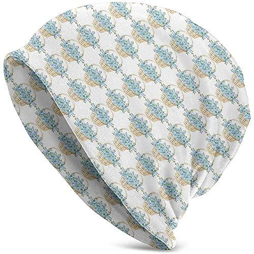 WCUTE Sombrero Gorrita Tejida Sombreros de Punto Gorra de Calavera, diseño de Cesta de Mimbre con Flores florecientes de la Temporada de Primavera