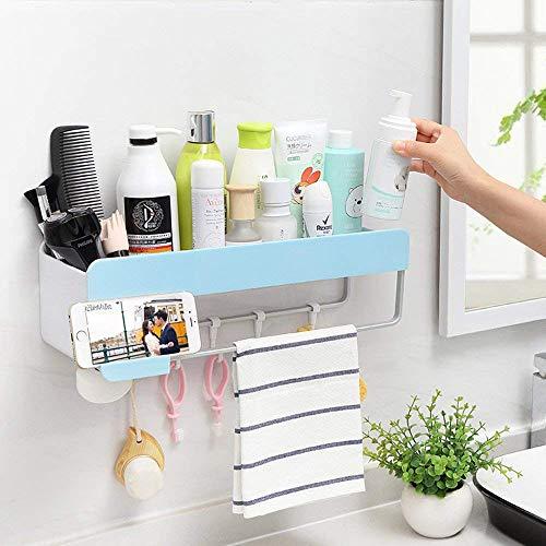 Boîte de rangement pour étagère de salle de bain, porte-savon et crochet pour suspendre un adhésif - bleu