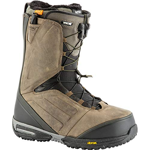 Nitro Snowboards EL Mejor TLS '19 Chaussures de Snowboard en Cuir de qualité supérieure avec système de Lacets Rapides pour Homme Marron Vieilli 30.5