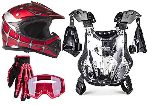 Typhoon Youth Dirt Bike Motocross ATV Helmet Gloves Goggles Chest Protector Combo Red Spiderman (XL)