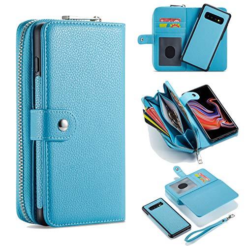 Handyhülle für Samsung S10 2019 Hülle, Premium Schutzhülle für Samsung Galaxy S10 Magnetisch Standfunktion Reißverschluss Kredit Kartenfächer Geldbörse Flip Münzfach Brieftasche Etui Geldbeutel - Blau
