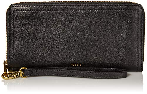 Fossil Women's Logan Faux Leather RFID Zip Around Clutch Wallet, Black