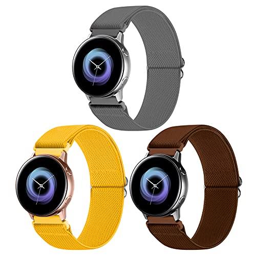 WNIPH Paquete de 3 correas de nailon para reloj Samsung Galaxy Watch Active 2 (40 mm/44 mm)/reloj 3 41 mm/reloj 42 mm/Gear S2, bandas de repuesto transpirables de tela elástica ajustable