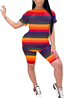 ThusFar Women's Tie Dye Short Shirt - 2 Piece Outfits Stripe Rainbow Floral T Shirts Bodycon Shorts Romper