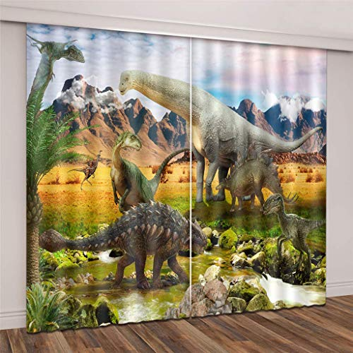 wqmdeshop Cortinas Super Soft Blackout Tall and Cruel Dinosaurs 3D Tela de Seda Negra Cortinas de Ojales con Aislamiento térmico 230 (H) x140 (W) Cmx2