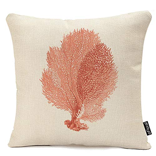 Home Decorative Cute Red Coral Throw Pillow Cover Coastal Theme Square Pillowcases 18 X 18 Inch Cotton Linen Sofa Cushion Covers