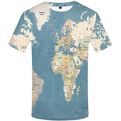 FANGDADAN 3D Printed T-Shirts,Unisex Kreative T-Stücke Tops Sommer Crewneck Short Sleeve Schnell Trocknend T-Shirts Für Männer Frauen Mode Paar Stadtplan 3D Gedruckte Grafik T Shirt,5XL