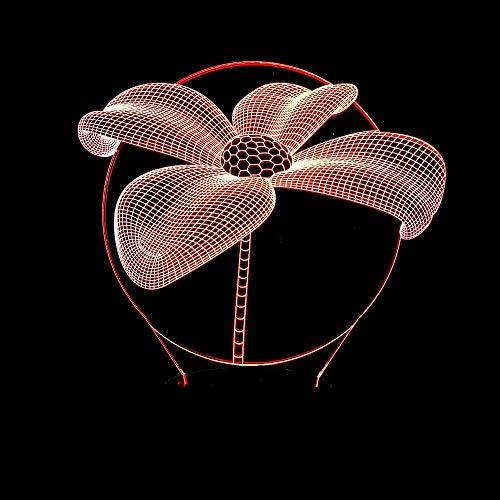 DKEE lámpara de mesa lámpara de mesa Lotus 3D noche luz siete color táctil control remoto LED visión lámpara creativo dormitorio pequeña lámpara de mesa
