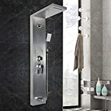 Panel de ducha, panel de ducha de acero inoxidable, ducha de lluvia, 5 funciones de ducha, sistema de ducha con pantalla LCD, indicador de temperatura, grifo de ducha con lluvia, ducha cascada
