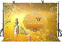 新しい50th Lady誕生日背景250×180cmゴールデンダイヤモンドハイヒールシャンパンカラフルなリボンゴールデン写真背景スタジオ小道具LLST026