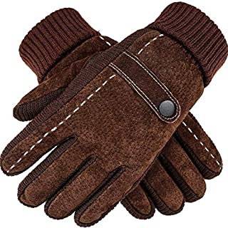 ITODA Men Touchscreen Cycling Gloves Winter Windproof Warm Leather Fleece Full Finger Outdoor Gloves Cold Weather Thermal Anti Slip Skiing Riding Motorcycle Gloves