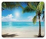 Gaming Mouse Pad mit Designs, Kokospalmen Schatten auf karibischen Ufer Sommerpflanzen Idyllische Rechteck rutschfeste Gummi Mousepad