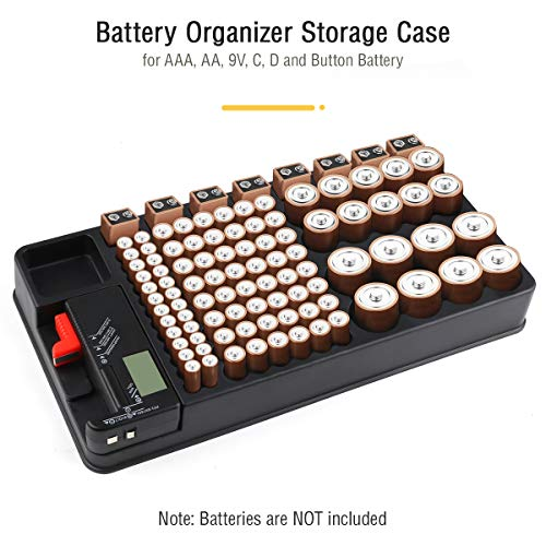 Organizzatore di Batteria per 110 slot per batterie di dimensioni diverse per batterie AAA, AA, 9V, C, D e pulsanti con tester batteria rimovibile