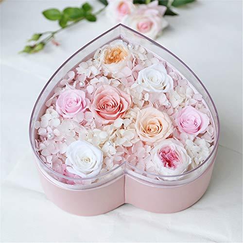 Flores artificiales Siempre Flores, hecho a mano for siempre Rose Conservado flor rosa con forma de corazón regalo romántico for el día de Navidad Aniversario Cumpleaños de Acción de Gracias d