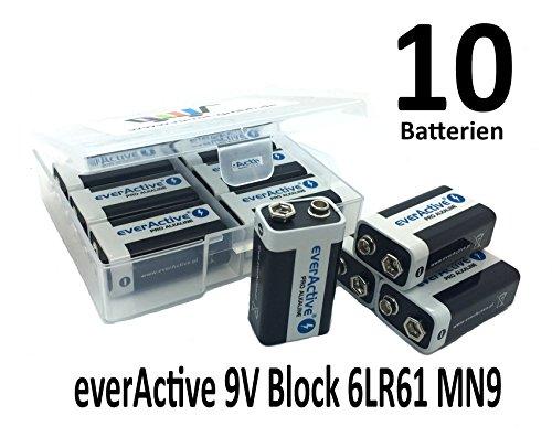 Platte box met 10 x everActive 9V blok 6LR61 MN 9 V blokbatterij MN1604 ook voor rookmelders