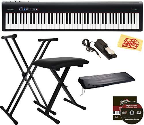 Roland FP-30 Digital Piano - Black Bundle with Roland DP-10 Damper Pedal, Adjustable Stand, Bench, Dust Cover, Austin Bazaar Instructional DVD,...