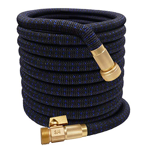 "50ft Expandable Garden Hose Flexible Garden Hose Lightweight Extra Strength Fabric and 3-Layer Latex Core, 3/4"" Solid Brass Fittings, No-Kink, Best Choice for Watering and Washing"