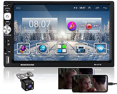 Hikity Android RDS Radio de Coche con Navegación GPS 2 DIN Autoradio Bluetooth 7 Pulgadas Pantalla Táctil Estéreo del Coche con FM Am WiFi USB Enlace Espejo + Cámara de Visión Trasera + Marco