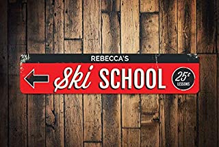 HarrodxBOX Ski School Sign Personalized 25 Cent Lessons Sign Custom Instructor Name Arrow Sign Metal Ski Lodge Decor Metal Tin Signs for Home Decor Wall Post Housewarming Gift