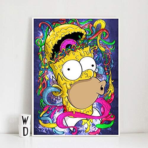 YuanMinglu Machen Sie eine Zombie Cartoon Homer Leinwand Kunst Tapete Poster Poster drucken Bild Schlafzimmer Dekoration rahmenlose Malerei 72x90cm