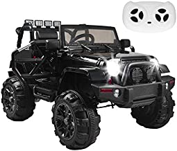 Simply-Me 12V Kids Electric Truck Ride On Car,3 Speeds SUV Power Car Wheels Remote Control Ride On Toys w/ MP3 Function,LED Headlights & Spring Suspension,Black
