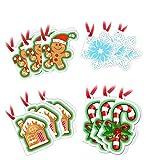 SweetHoney 12 Bigliettini Etichette Lista dei 3 Desideri Addobbi Decorazioni per Albero di Babbo Natale Targhette Chiudi Pacco Idee Regalo Omino Pan di Zenzero Fiocco di Neve Candy Cane con Nastrino