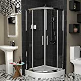 700 x 700mm Walk in 6mm Glass Double Sliding Quadrant <span class='highlight'>Shower</span> Enclosure with High <span class='highlight'>Shower</span> Tray