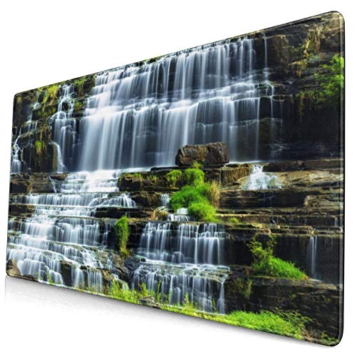 KASABULL Extra Large Gaming Mouse Pad Waterfall In The Middle Of Tropical Jungle Natural Scenery Countryside Style 400x900 mm Professional Desk Mats Anti-Slip Rubber Base Keyboard