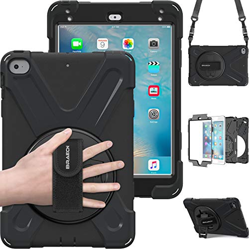 iPad Mini4shockpoof caso, braecn tres capa caída protección resistente protectora resistente ipad funda con correa para el hombro/correa de mano y un soporte de 360grados para iPad Mini 4caso negro