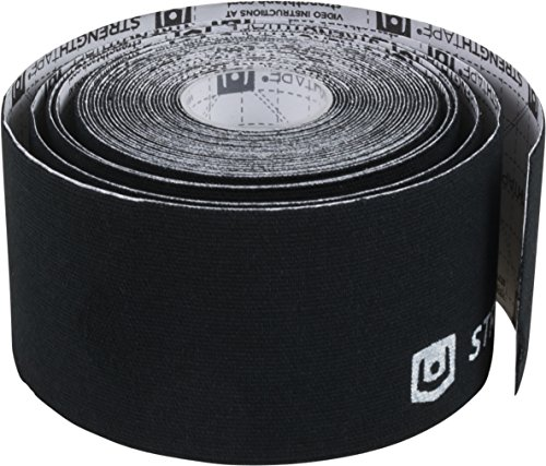 StrengthTape Kinesiology Tape, 5M Uncut K Tape Roll, Premium Sports Tape Provides Support and Stability to The Target Area, Black