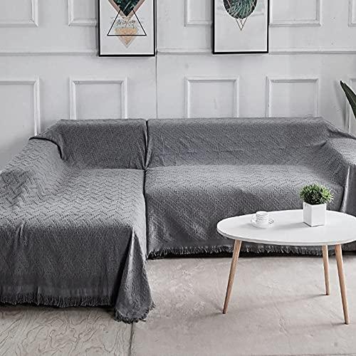 Sofa Überwürfe Sofabezug , 2er Set Sofabezüge Modell L Ecksofabezüge Sofastuhl Wohnzimmer Home (Chaiselongue mit 2 Sitzer, Grau)