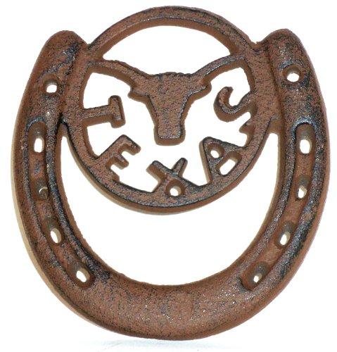 Rustic Cast Iron U T Texas Horseshoe Lucky horse shoe. Texas Longhorn U of T