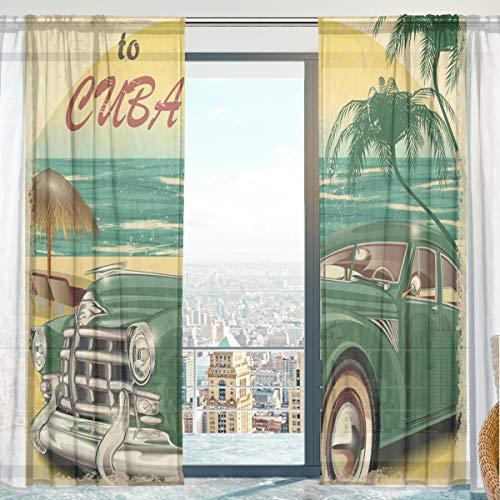 MNSRUU Scheibengardine, Vintage Beach Car Welcome Weicher Tüll-Voile Vorhänge für Wohnzimmer Schlafzimmer 140 x 213 cm, 2 Paneele
