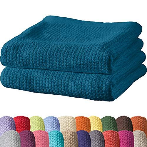 Erwin Müller Sommerdecke, Baumwolldecke - 2er-Pack - luftig-leicht, weiche Qualität, sehr angenehm - Petrol Größe 100x150 cm - weitere Farben und Größen - 100% Baumwolle