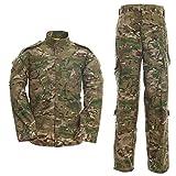 LANBAOSI - Set giacca tattica da uomo e pantaloni da combattimento mimetico Woodland Caccia ACU CP XS